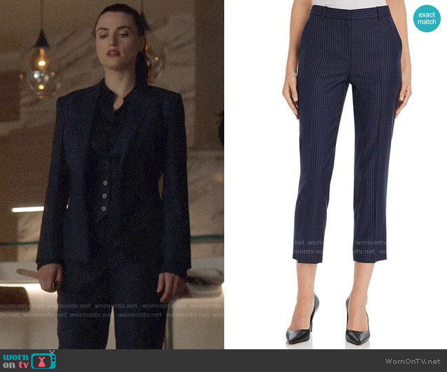 Theory Striped Wool Cropped Pants worn by Lena Luthor (Katie McGrath) on Supergirl