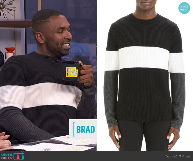 Zoren Colorblock Cashwool Pullover by Theory worn by Justin Sylvester  on E! News
