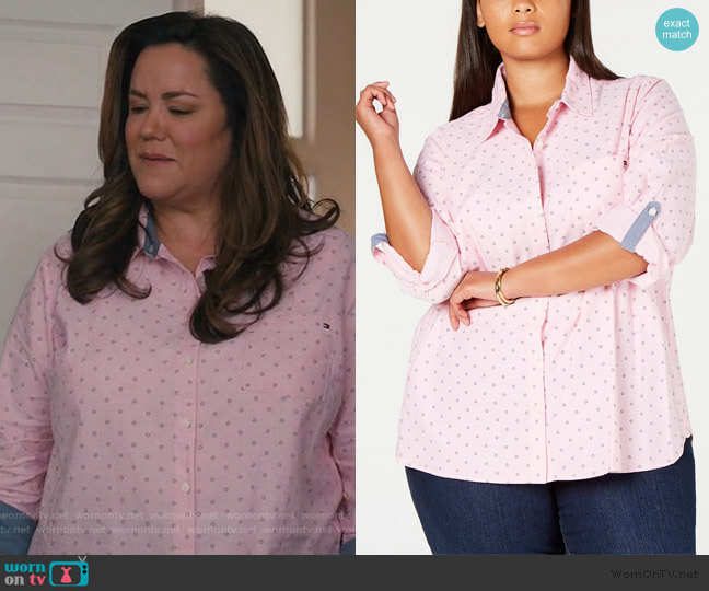 Oxford Dot Roll Tab Top by Tommy Hilfiger worn by Katie Otto (Katy Mixon) on American Housewife