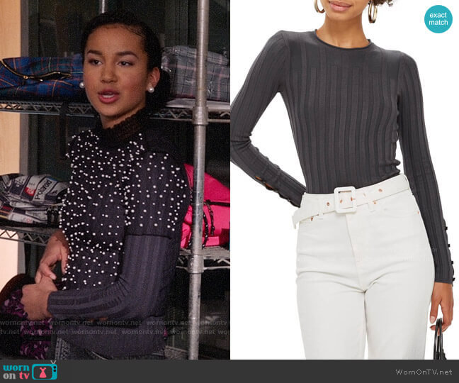 Topshop Ribbed Sweater in Charcoal  worn by Gina (Sofia Wylie) on High School Musical The Musical The Series
