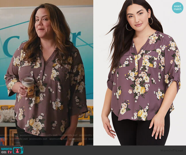 Mauve Floral Georgette Pullover by Torrid worn by Katie Otto (Katy Mixon) on American Housewife