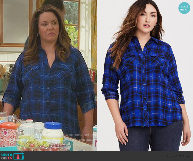 Plaid Challis Button Down Shirt by Torrid worn by Katie Otto (Katy Mixon) on American Housewife