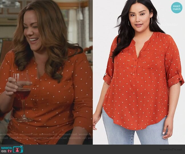 Printed Shirt by Torrid worn by Katie Otto (Katy Mixon) on American Housewife