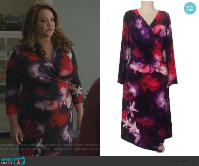 Floral Wrap Dress by Torrid worn by Katie Otto (Katy Mixon) on American Housewife