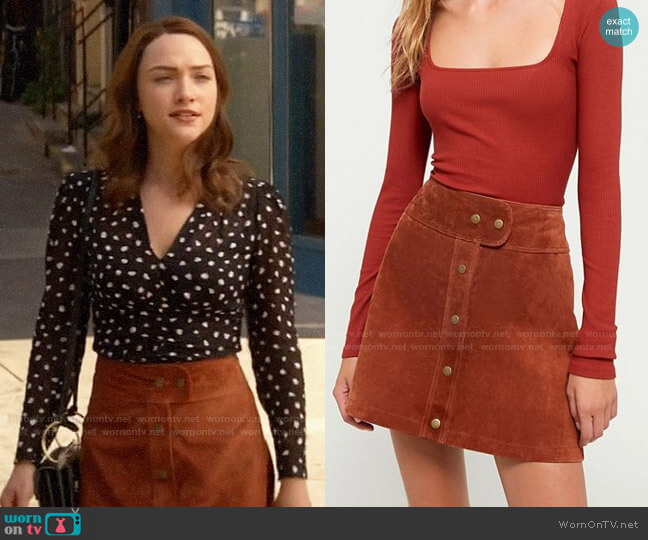 UO Cardiff Suede Mini Skirt worn by Cara Bloom (Violett Beane) on God Friended Me