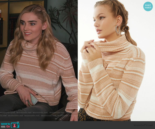 Mackenna Striped Turtleneck Sweater by Urban Outfitters worn by Taylor Otto (Meg Donnelly) on American Housewife