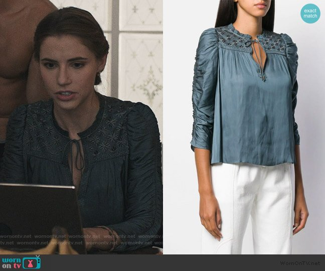 Ruched Puff Sleeve Blouse by Ulla Johnson worn by Stephanie 'Stevie' McCord (Wallis Currie-Wood) on Madam Secretary