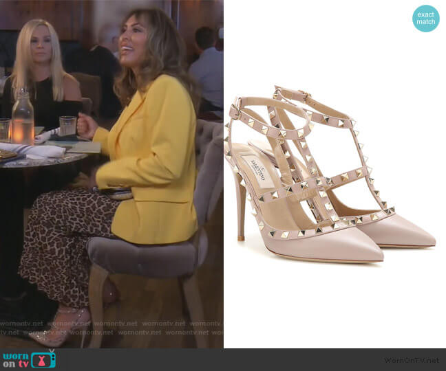 Rockstud leather pumps by Valentino worn by Kelly Dodd  on The Real Housewives of Orange County