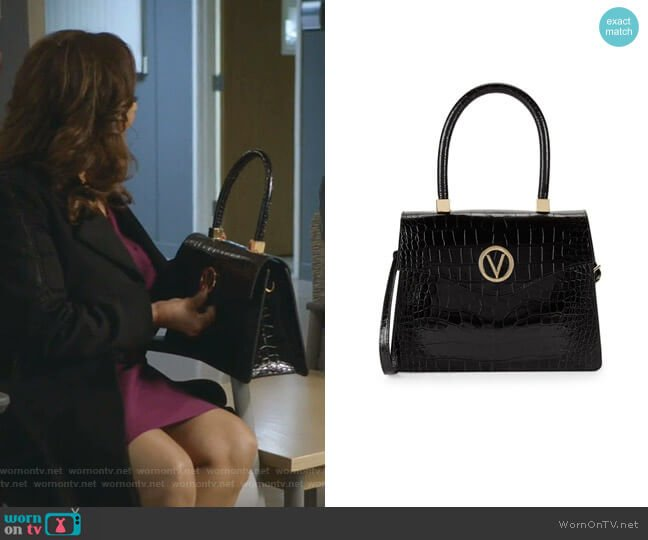 Melanie Croc-Embossed Leather Top Handle Bag by Valentino by Mario Valentino worn by Catherine Avery (Debbie Allen) on Greys Anatomy