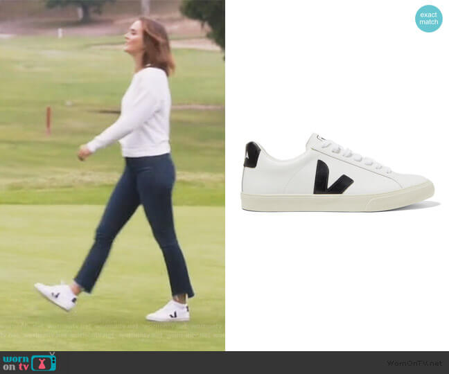 NET SUSTAIN Esplar rubber-trimmed leather sneakers by Veja worn by Angie (Leighton Meester) on Single Parents