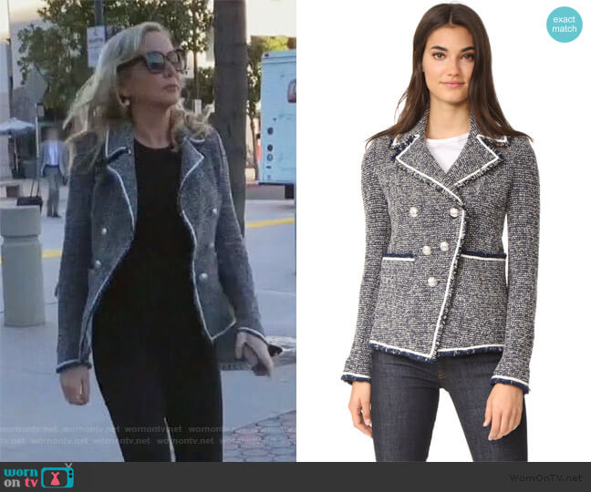 Carroll Portrait Neckline Jacket by Veronica Beard worn by Shannon Beador  on The Real Housewives of Orange County