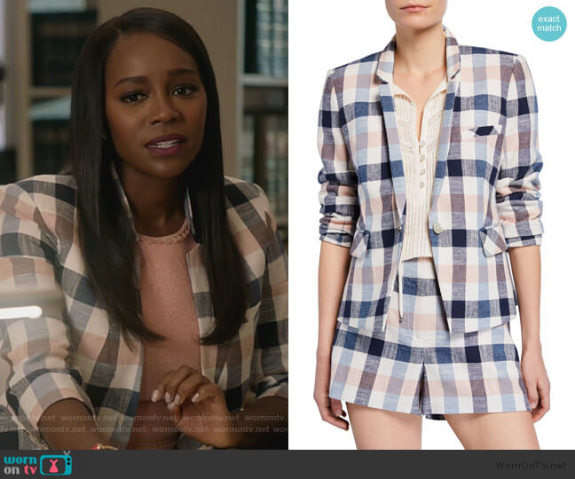 Upcollar Schoolboy Dickey Jacket by Veronica Beard worn by Michaela Pratt (Aja Naomi King) on HTGAWM