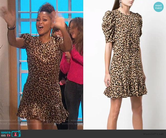 Lila Puff Sleeve Leopard-Print Flounce Dress by Veronica Beard worn by Eve  on The Talk