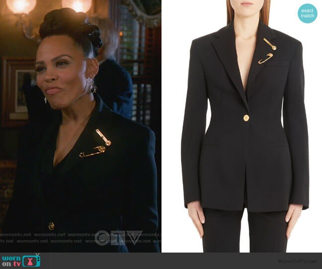 Safety Pin Detail Stretch Wool Blazer by Versace worn by Tegan Price (Amirah Vann) on HTGAWM