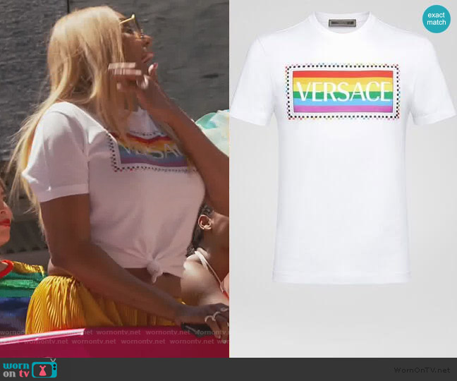 X Pride Logo T-shirt by Versace worn by Nene Leakes  on The Real Housewives of Atlanta