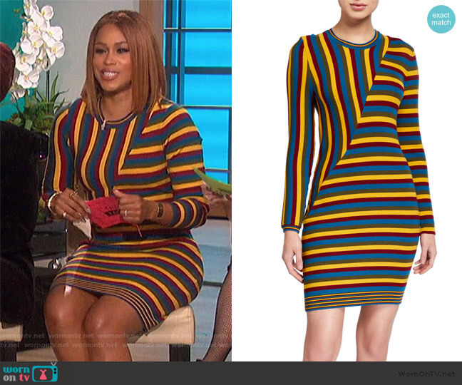 Long Sleeve Striped Mini Dress by Victor Glemaud worn by Eve  on The Talk