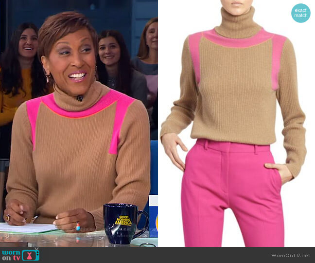 Contrast Panel Ribbed Cashmere Turtleneck Sweater by Victoria Beckham worn by Robin Roberts  on Good Morning America
