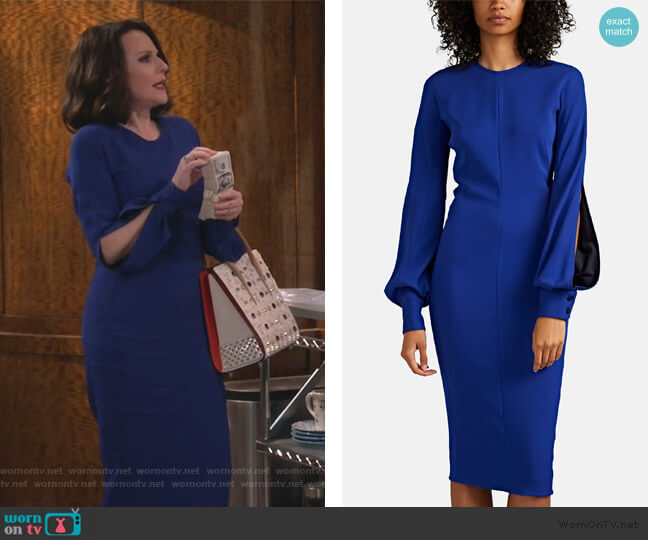 Slashed-Sleeve Fitted Dress by Victoria Beckham worn by Karen Walker (Megan Mullally) on Will & Grace