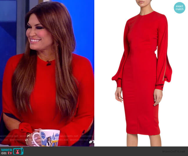 Triple-Georgette Slashed-Sleeve Dress by Victoria Beckham worn by Kim Guilfoyle on The View