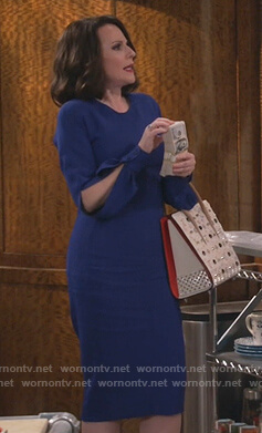 Karen's blue split sleeve dress on Will and Grace