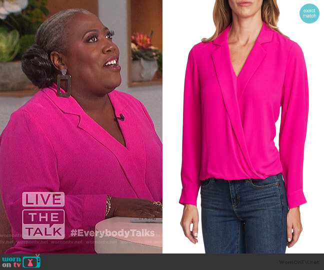 Crossover-Front Faux Wrap Blouse by Vince Camuto worn by Sheryl Underwood  on The Talk