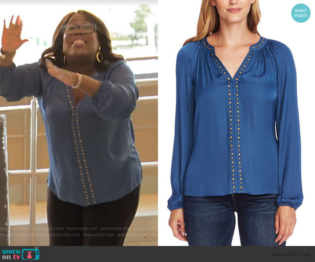 Studded Blouson-Sleeve Top by Vince Camuto worn by Sheryl Underwood  on The Talk