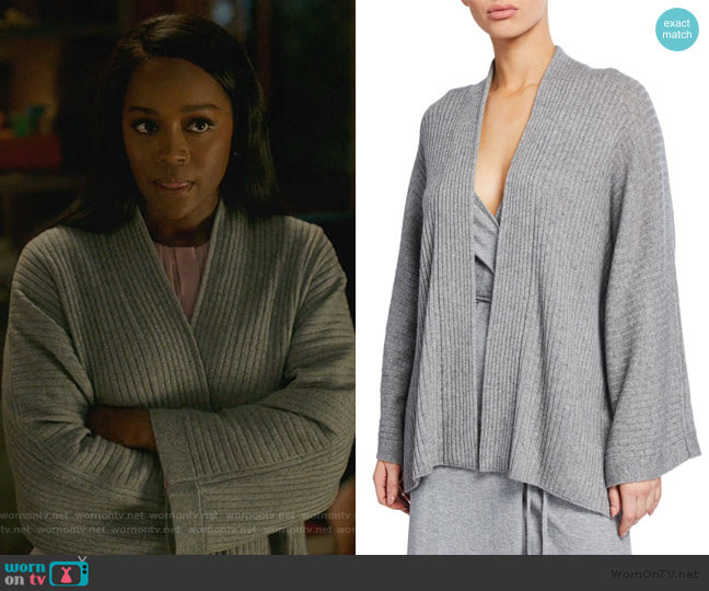 Open-Front Ribbed Cardigan with Split Panel by Vince worn by Michaela Pratt (Aja Naomi King) on HTGAWM