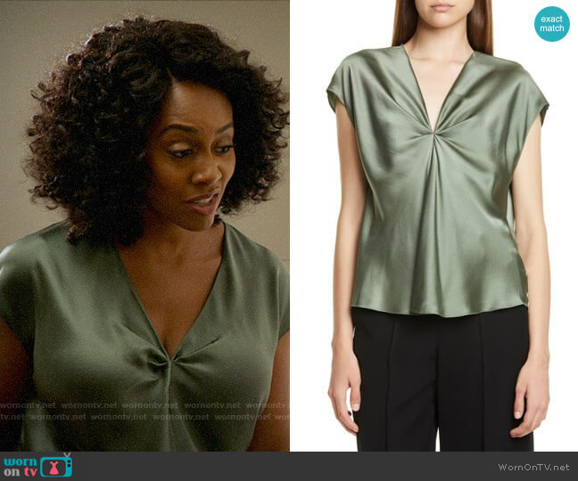 Vince Twist Detail Short Sleeve Silk Blouse in Sage Flint worn by Lola Carmichael (Simone Missick) on All Rise