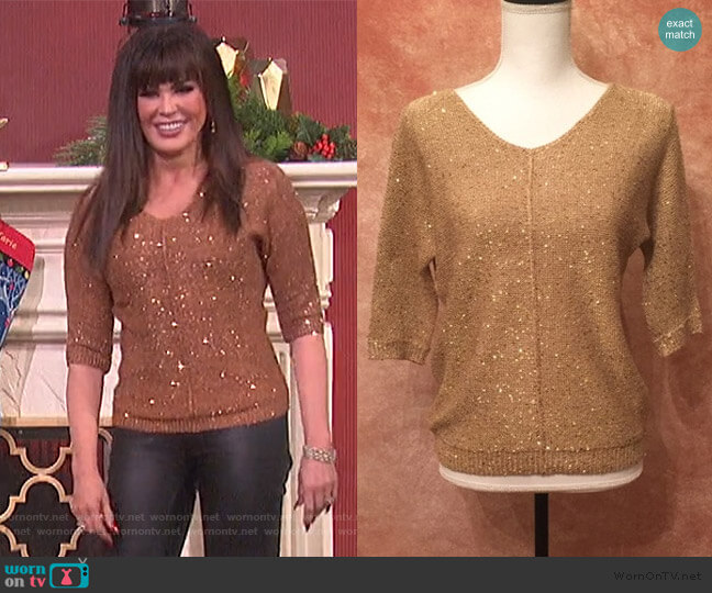 Sequin Sweater by WD.NY worn by Marie Osmond  on The Talk