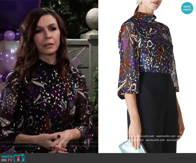 Whistles Montrose Printed Top worn by Anna Devane (Finola Hughes) on General Hospital
