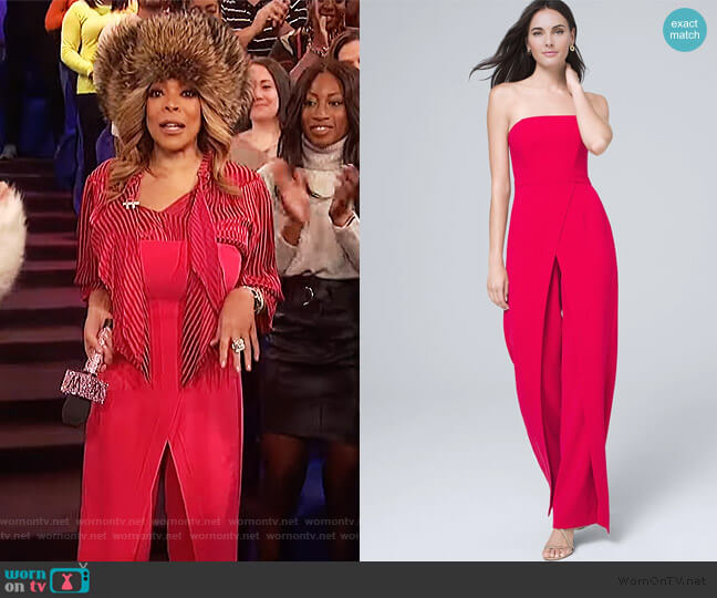 Convertible Strapless Split-leg Jumpsuit by White House Black Market worn by Wendy Williams  on The Wendy Williams Show