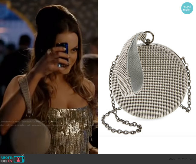 Canteen Mesh Ball Minaudière by Whiting & Davis worn by Fallon Carrington (Elizabeth Gillies) on Dynasty