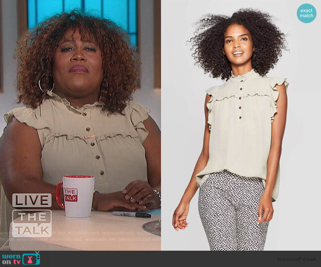 Ruffle Sleeveless Cowl Neck Front Button-Down Blouse by Who What Wear at Target worn by Sheryl Underwood  on The Talk