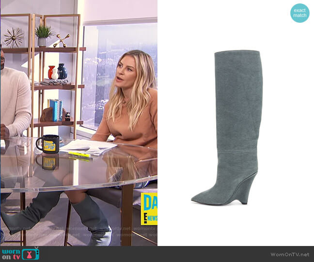 Season 8 Wedge Knee High Boots by Yeezy worn by Morgan Stewart  on E! News