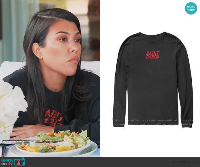 Kim Tennis Black Long Sleeve T-Shirt by Yeezy worn by Kourtney Kardashian  on Keeping Up with the Kardashians