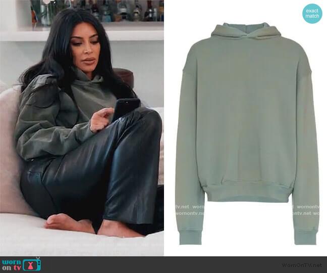 Season 6 Classic Glacier Hoodie by Yeezy worn by Kim Kardashian  on Keeping Up with the Kardashians