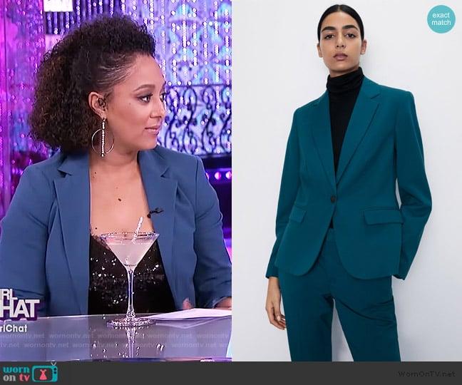 Basic Blazer by Zara worn by Tamera Mowry  on The Real
