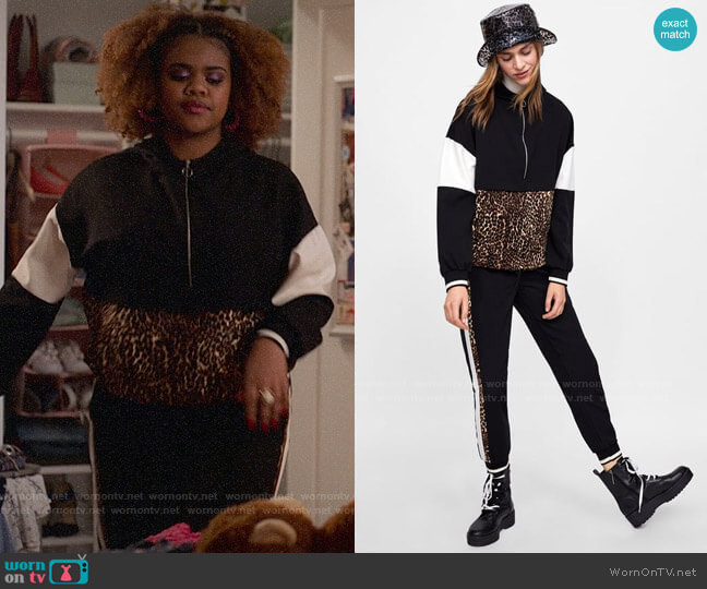 Zara Pouch Pocket Sweatshirt with Animal Print Band worn by Kourtney (Dara Renee) on High School Musical The Musical The Series