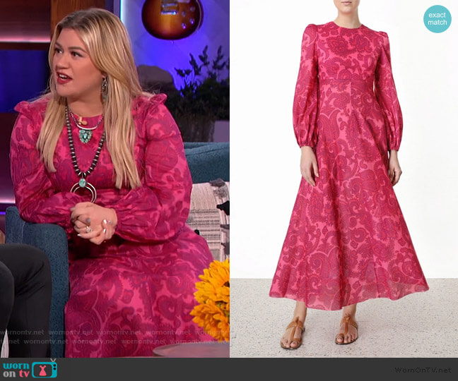 Edie High Neck Dress by Zimmermann worn by Kelly Clarkson  on The Kelly Clarkson Show