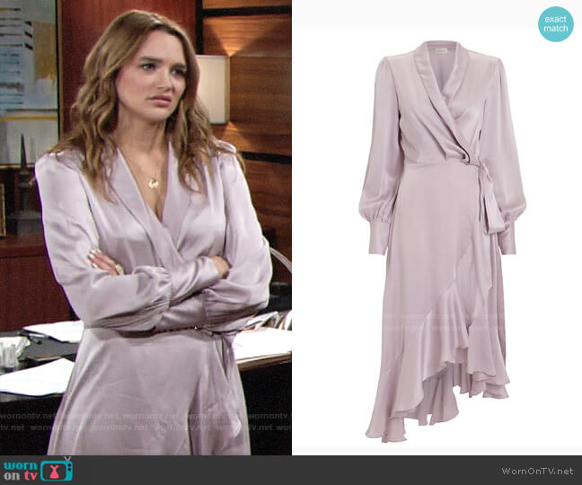 Zimmermann Lavender Silk Wrap Dress worn by Summer Newman (Hunter King) on The Young & the Restless