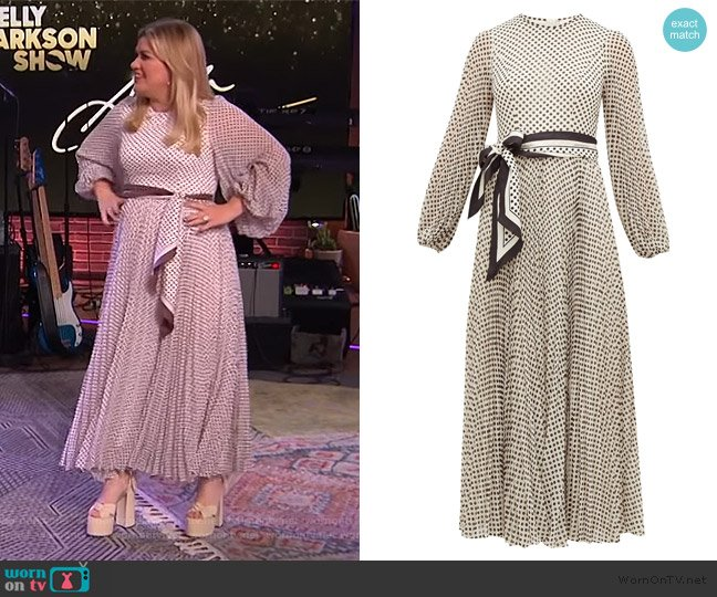 Sunray pleated polka-dot chiffon dress by Zimmermann worn by Kelly Clarkson  on The Kelly Clarkson Show