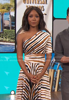 Zuri's striped one-shoulder dress on Access Hollywood