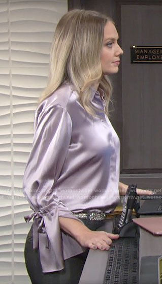 Abby's purple tie cuff blouse on The Young and the Restless