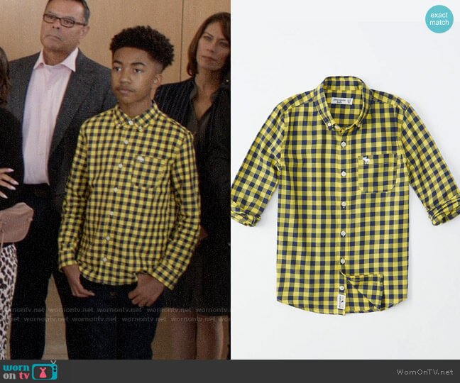 Abercrombie Long-sleeve Preppy Shirt in Yellow Check worn by Jack Johnson (Miles Brown) on Blackish
