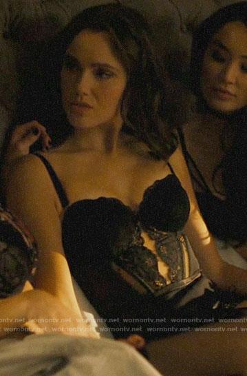 Abigael's black lace bustier bodysuit on Charmed