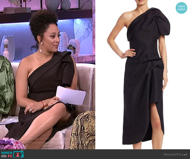Crawford One-Shoulder Dress by Acler worn by Tamera Mowry  on The Real