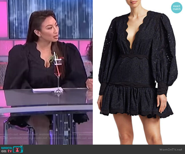 Montana Embroidery Flounce Mini Dress by Acler worn by Jeannie Mai  on The Real