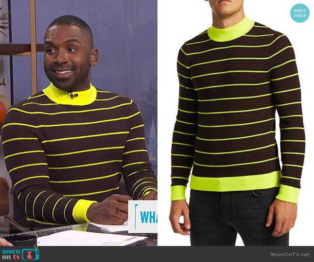 Kadison Neon Stripe Merino Wool Sweater by Acne Studios worn by Justin Sylvester  on E! News