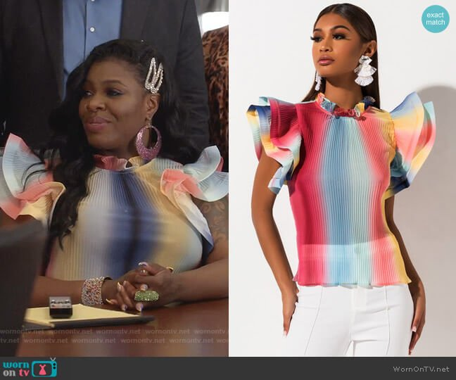 All Talk Exaggerated Sleeve Slouse by Akira Label worn by Porsha Taylor (Ta'Rhonda Jones) on Empire