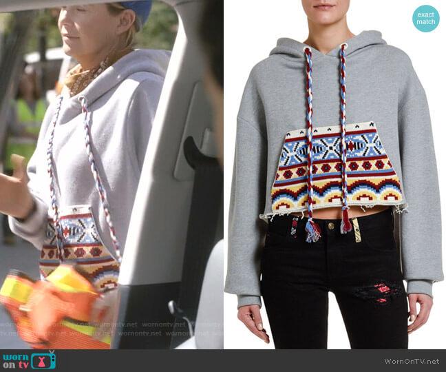 Cutoff Hoodie Sweatshirt with Knit Pocket by Alanui worn by Meredith Grey (Ellen Pompeo) on Greys Anatomy